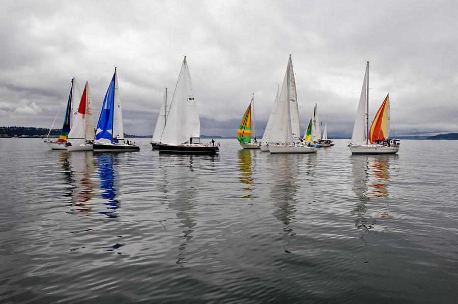 Sail Photograph - Sailboat Race Seattle by Tom Dowd