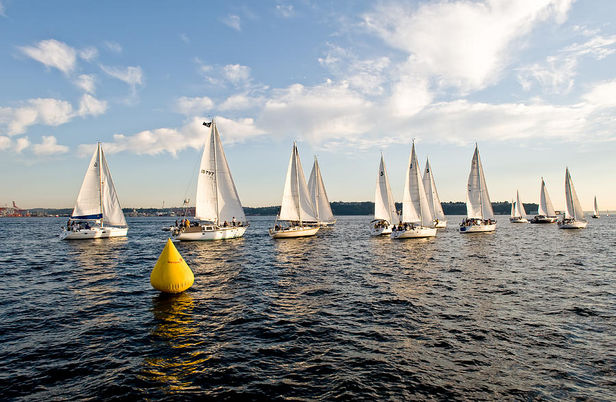 Seattle Photograph - Sailboat Racers by Tom Dowd