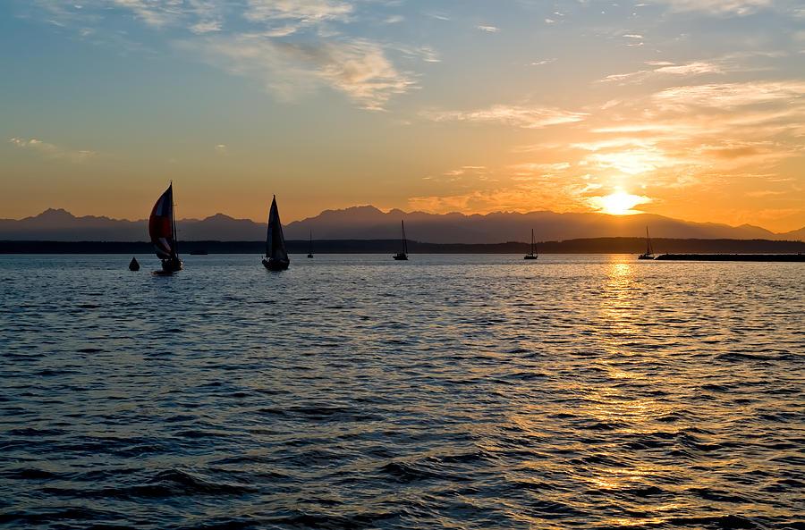 Seattle Photograph - Sailboat Sillohette Sunset by Tom Dowd
