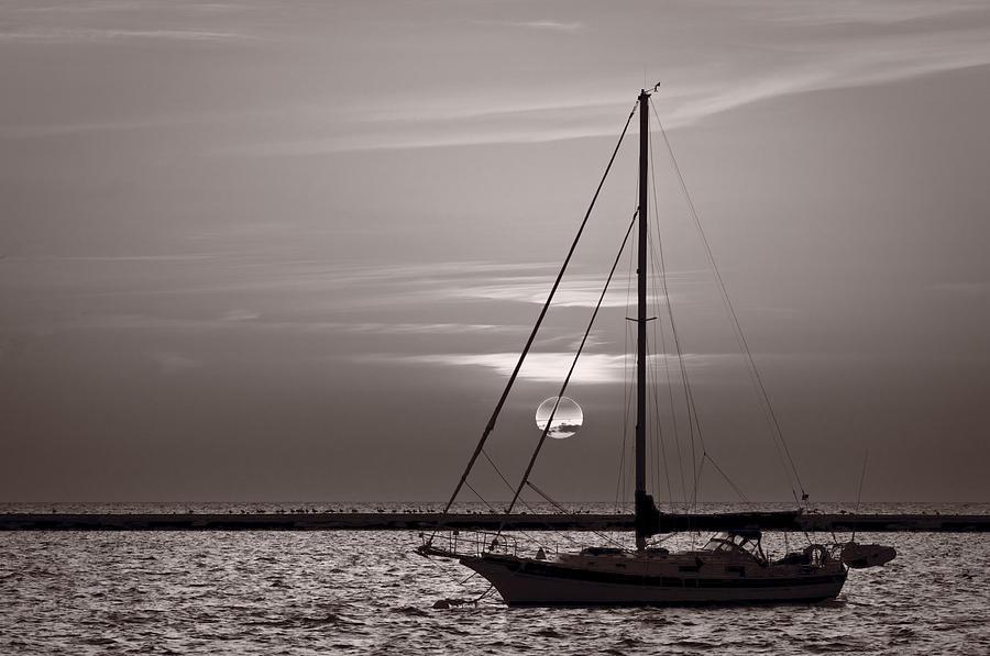 Boat Photograph - Sailboat Sunrise In B And W by Steve Gadomski