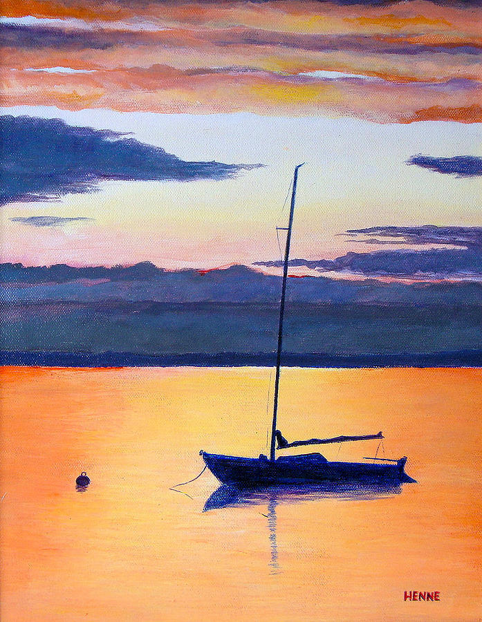 Sail Boat Painting - Sailboat Sunset by Robert Henne