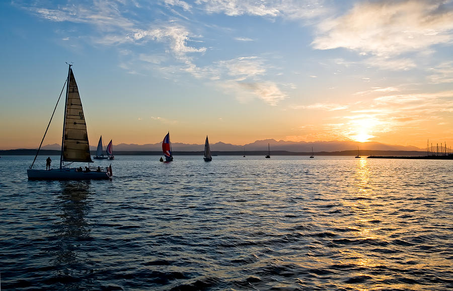 Seattle Photograph - Sailboat Sunset by Tom Dowd
