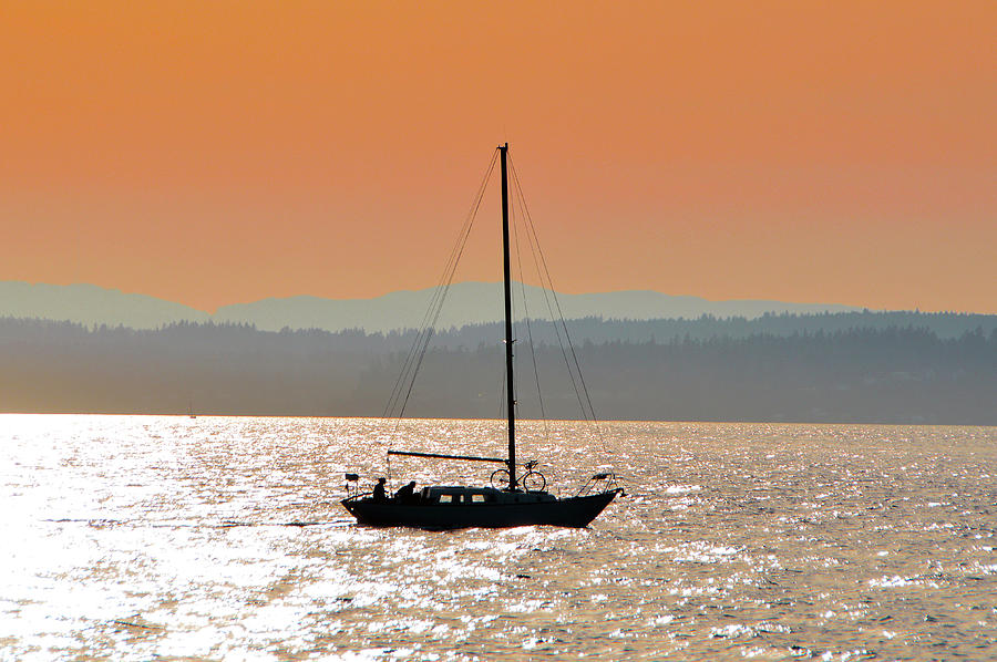 Landscape Photograph - Sailboat With Bike by Brian OKelly