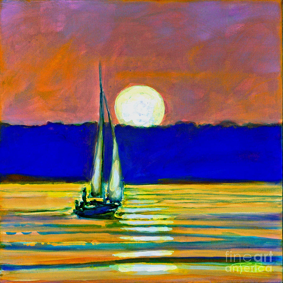 Sailboat With Moonlight Painting by Kip Decker