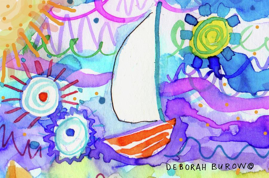 Purple Sea Painting - Sailboat With Sun by Deborah Burow