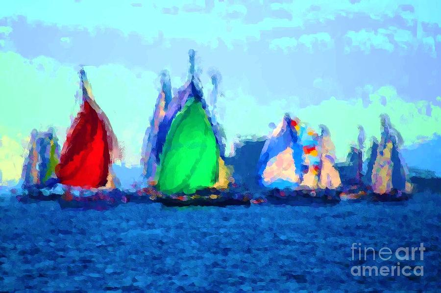 Sailboats 5 by Duygu Kivanc