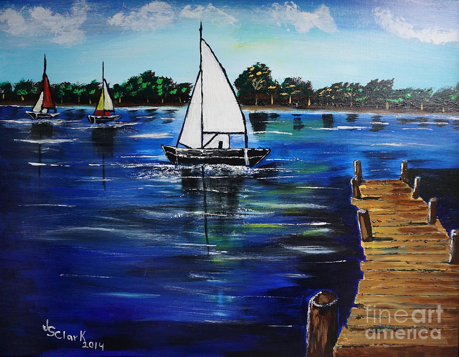 Sailboats and Pier by Jimmy Clark