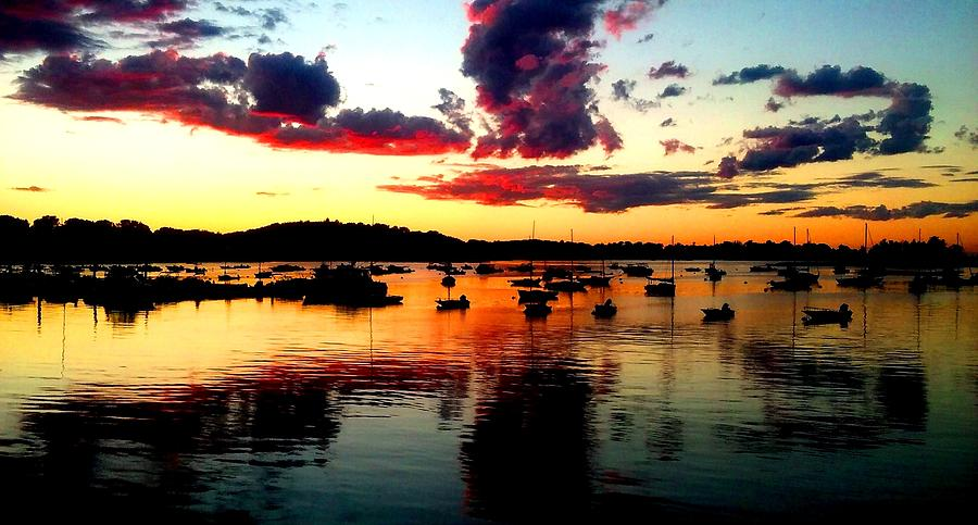 Sunset Photograph - Sailboats and Sunset sky in Hingham, MA by Ron Bartels