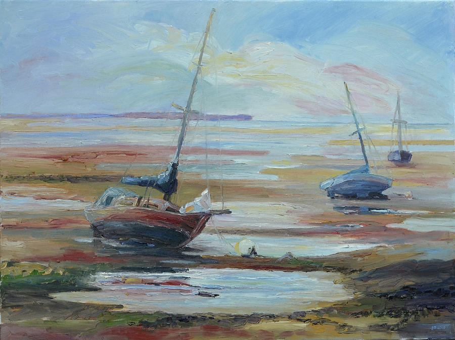 Sommer Painting - Sailboats at Low Tide near Nelson, New Zealand by Barbara Pommerenke