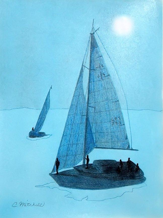 Ocean Painting - Sailboats by Carole Mitchell