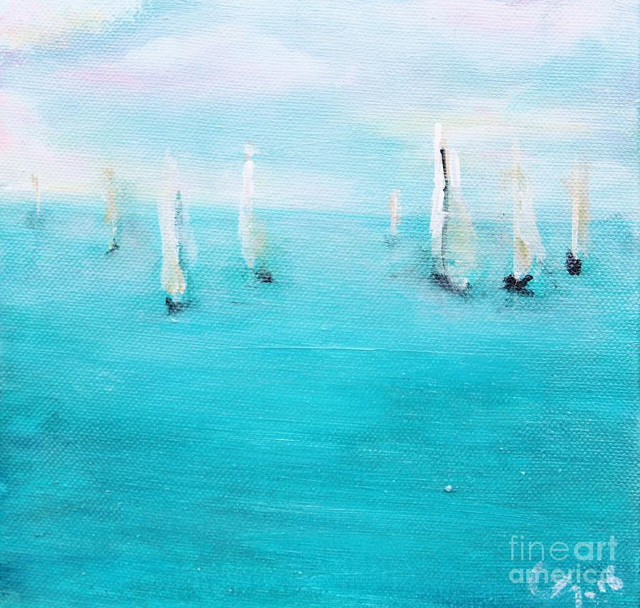 Sailboats Painting - Sailboats  by Chaline Ouellet
