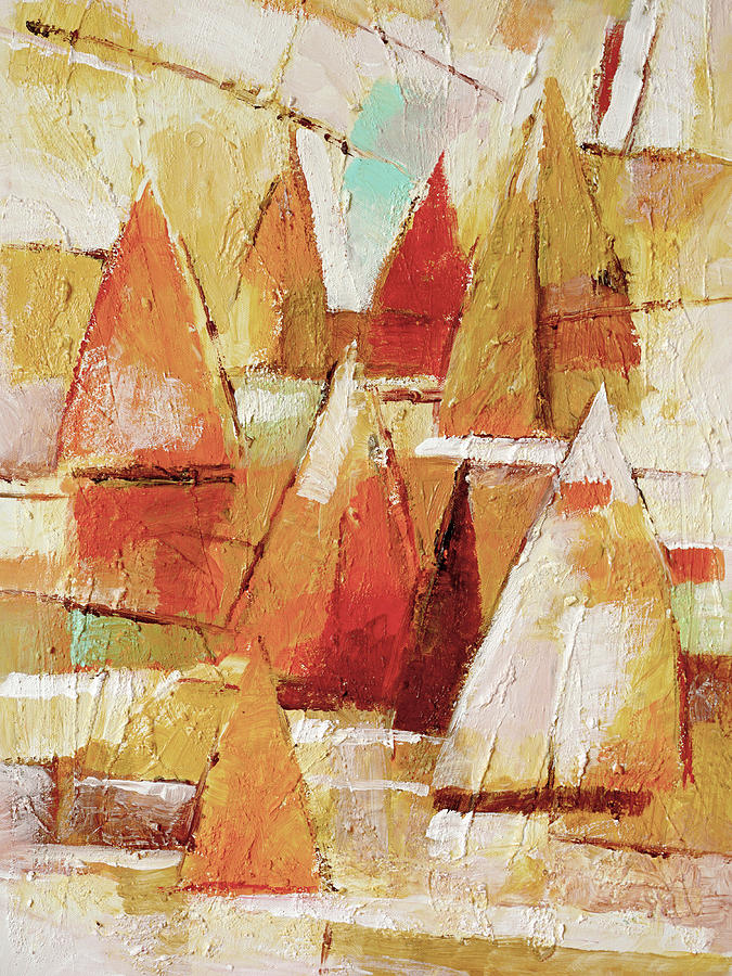 Sunset Sailboat Painting - Sailboats Impression by Lutz Baar