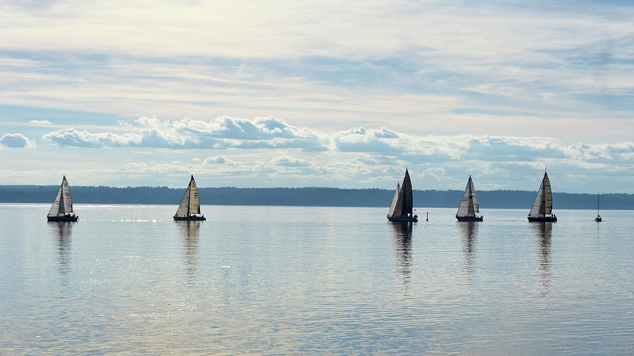 Sailboats on Puget Sound by Cathy Anderson