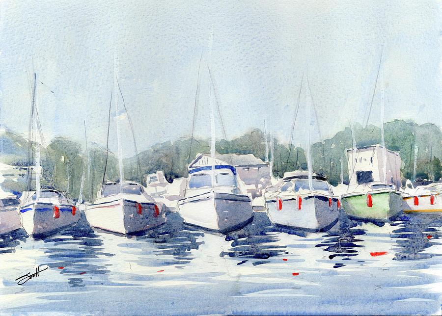 Sailboat Painting - Sailboats by Scott Brown