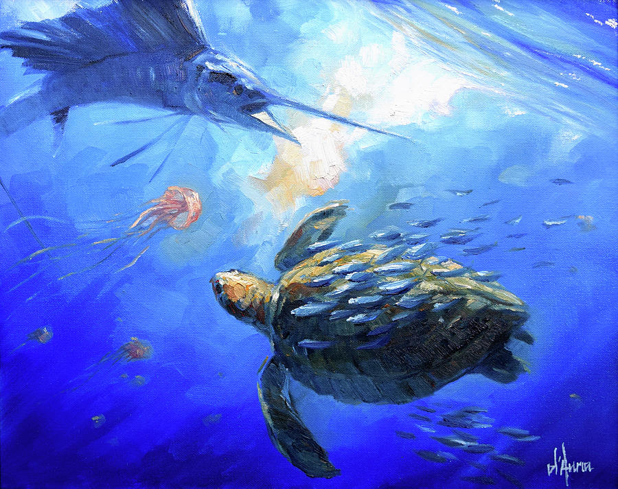 Sea Turtle Painting - Sailfish And Turtle by Tom Dauria