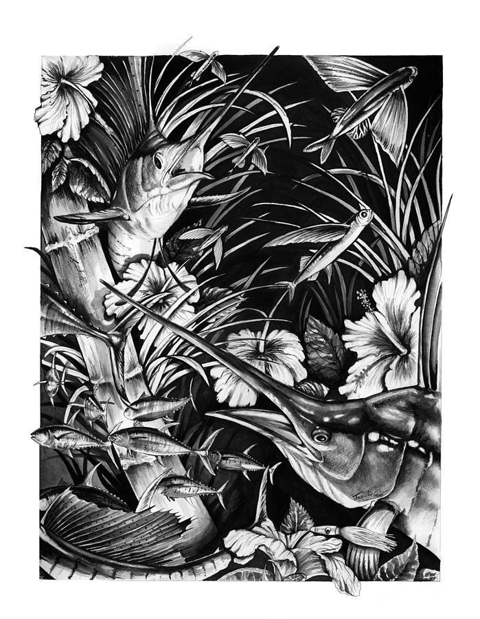 Sailfish Mixed Media - Sailfish Collage by Jacqueline Endlich