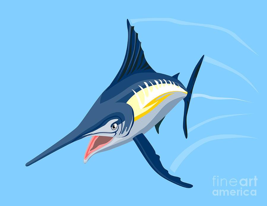 Fish Digital Art - Sailfish Diving by Aloysius Patrimonio