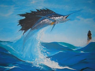 Sailfish Painting by Katka Peskova