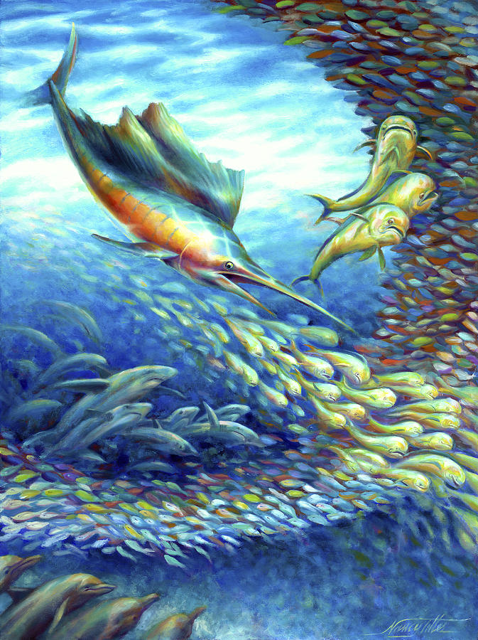 Oil Painting Painting - Sailfish Plunders Baitball II - Sharks And Dolphin Fish by Nancy Tilles