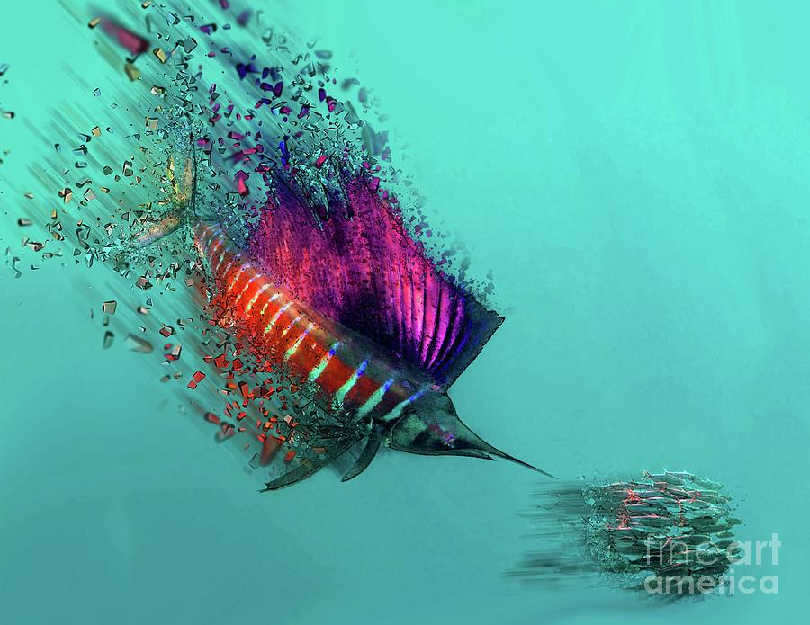 sailfish speed and food mixed media by edelberto cabrera