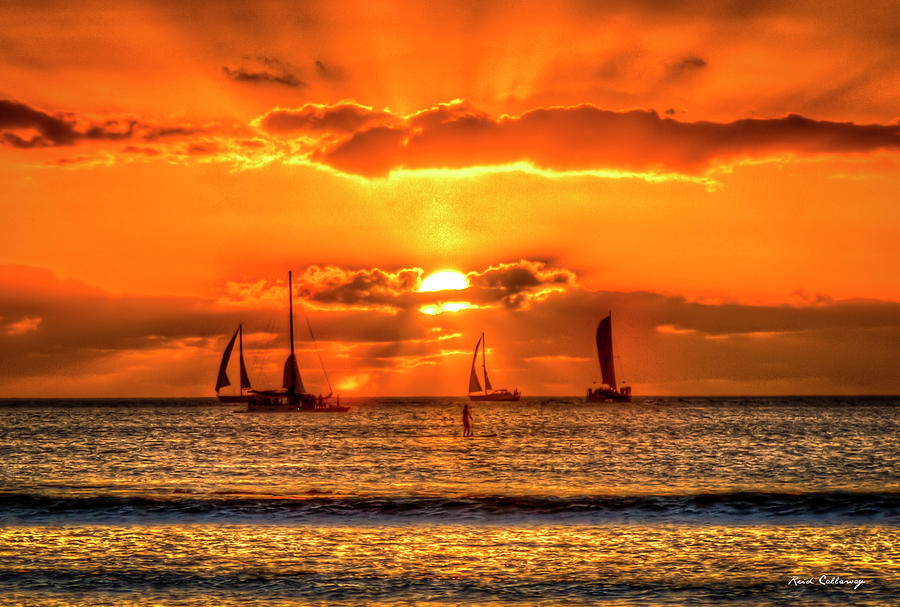Sailing A Waikiki Sunset Mamala Bay Honolulu Hawaii Collection Art