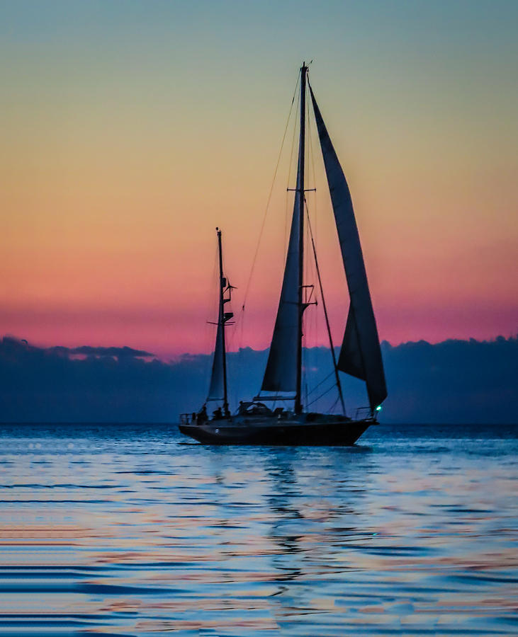 Sailing After Sunset by Terry Ann Morris