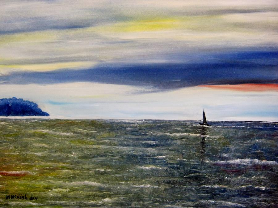 Sailboat Painting - Sailing At Dusk by Marilyn  McNish
