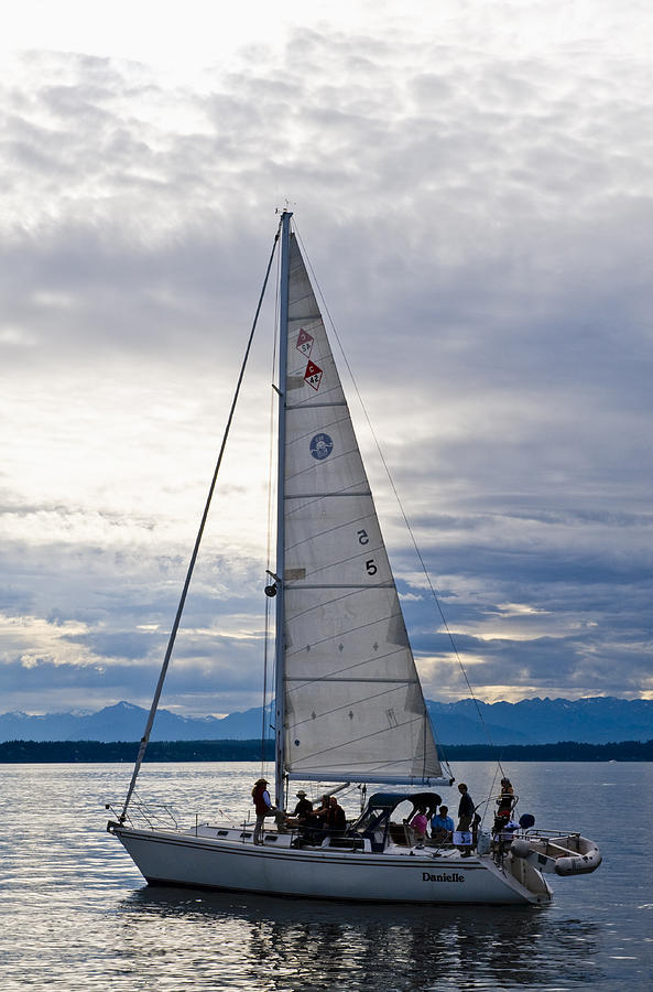Seattle Photograph - Sailing At Dusk by Tom Dowd
