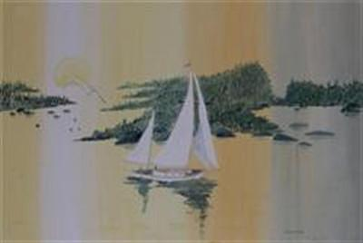 Sailing At Moonglow Painting by Dora Gourley