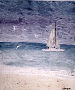 SAILING AT NIGHT nautical painting print Painting by Derek Mccrea