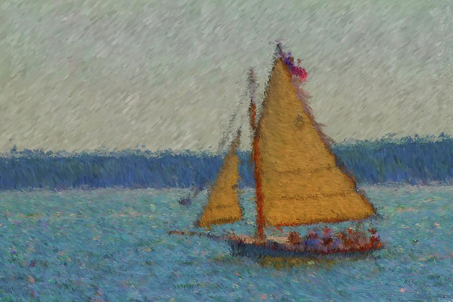 Boothbay Harbor Painting - Sailing At Spruce Point Boothbay Harbor Maine by Viktor Arsenov