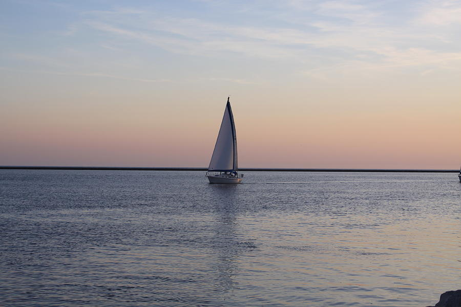 Sailboat Photograph - Sailing At Sunset by Chuck Bailey