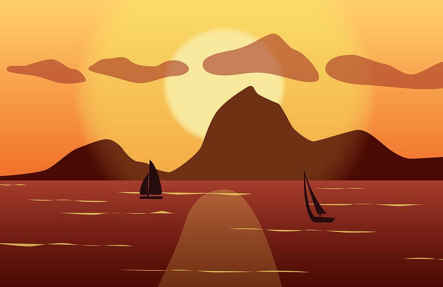 Sun Digital Art - Sailing at Sunset by Kori Jones