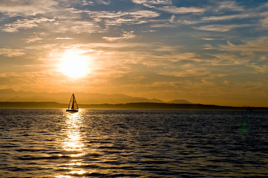Seattle Photograph - Sailing At Sunset by Tom Dowd