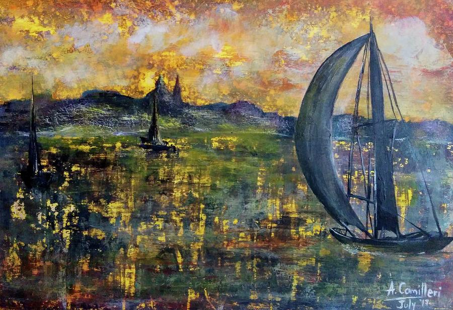 Sailing Away Painting by Anthony Camilleri