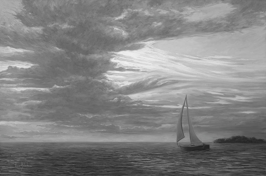 Sailboat Painting - Sailing Away - Black And White by Lucie Bilodeau