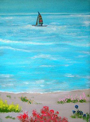 Seascape Painting - Sailing Away by Lise-marielle Fortin