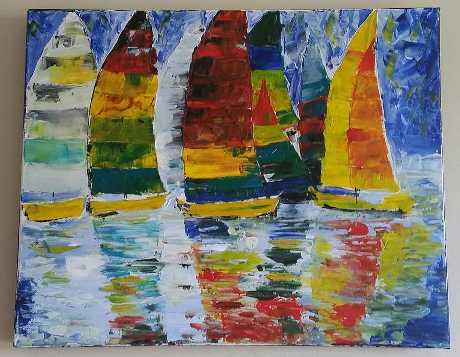 Sail Boats Painting - Sailing Away by Tayyaba Hafeez
