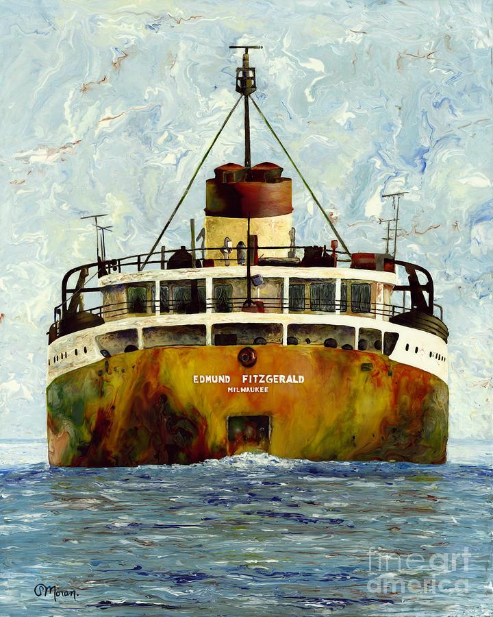 Edmund Fitzgerald Painting - Sailing Away - The Edmund Fitzgerald by Stefanie Moran