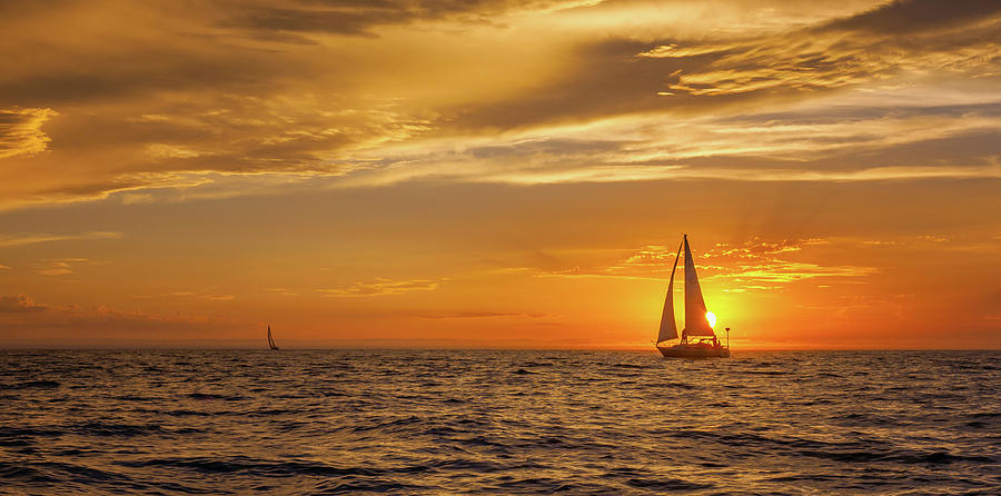 Sailing Photograph - Sailing Away Two by Steve Spiliotopoulos