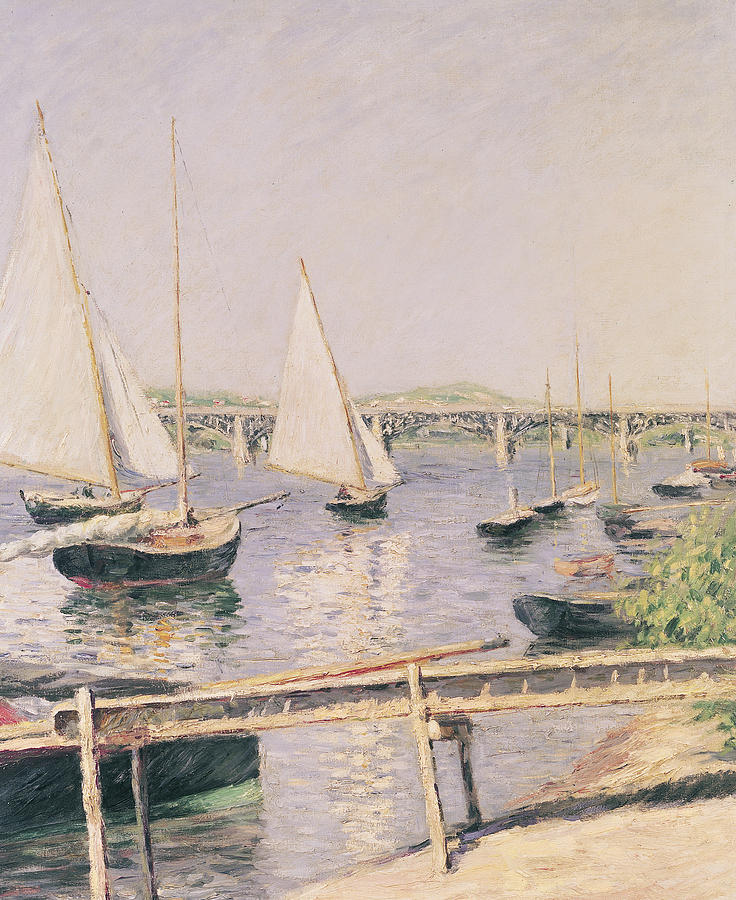 Yachting Painting - Sailing Boats At Argenteuil by Gustave Caillebotte