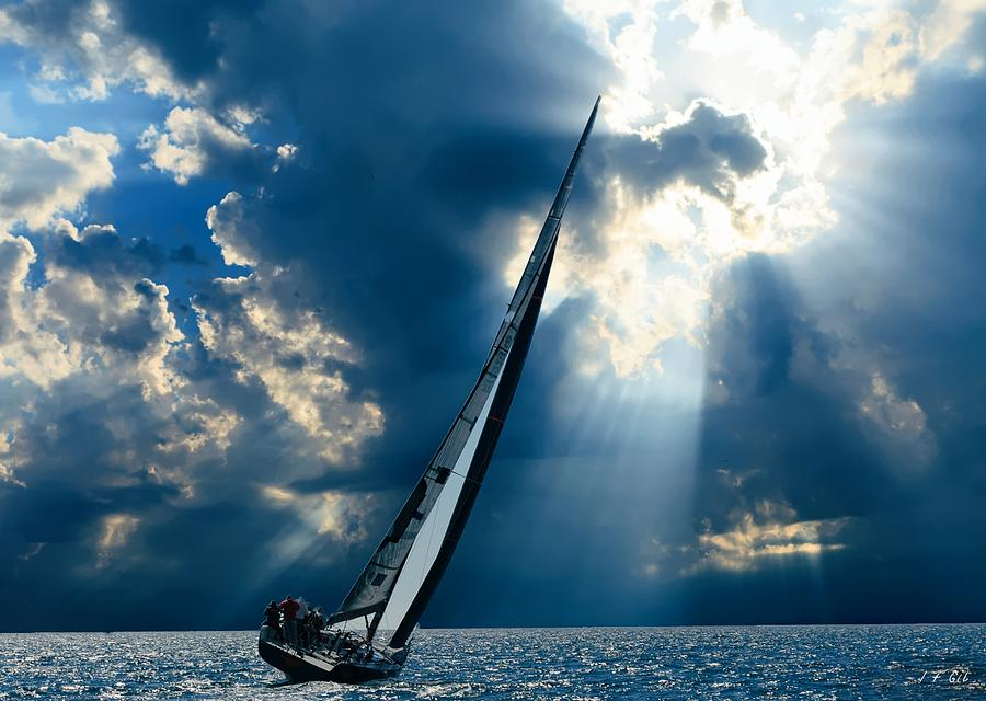Sailing boats at sea , Photography , by Jean Francois Gil