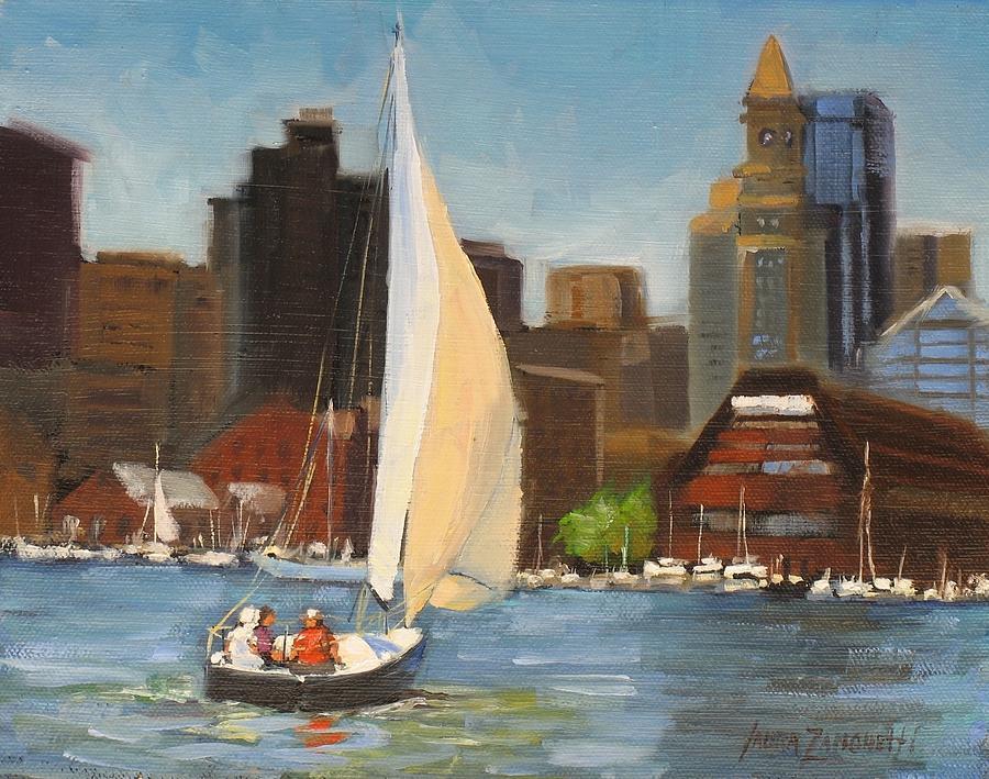 Oil Painting Painting - Sailing Boston Harbor by Laura Lee Zanghetti