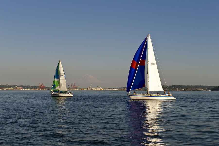 Seattle Photograph - Sailing By Mt Rainier by Tom Dowd