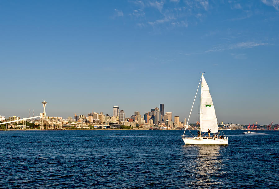 Seattle Photograph - Sailing By Seattle by Tom Dowd