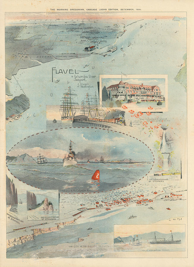 Sailing Chart - The Morning Oregonian - Cascade Locks Edition, 1896 - Columbia River Port Drawing