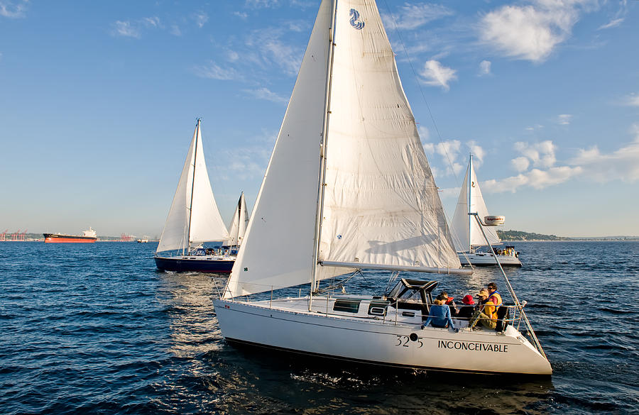 Seattle Photograph - Sailing Crew by Tom Dowd