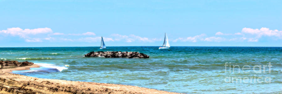 Lake Erie Photograph - Sailing Days On Lake Erie Panorama by Randy Steele