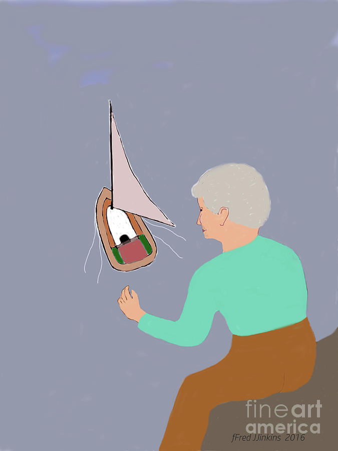 Old Lady Painting - Sailing Grandma by Fred Jinkins