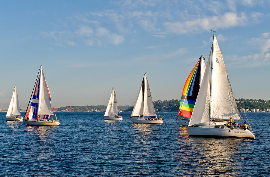 Seattle Photograph - Sailing Group Seattle by Tom Dowd
